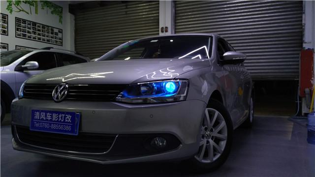 速腾车灯升级 海拉五双氙透镜改装冰蓝恶魔眼改装——清风车影灯改