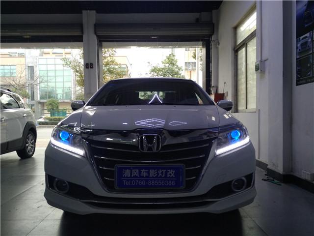本田凌派车灯升级Q5双光透镜,炫酷蓝色恶魔眼,中山清风车影灯改。